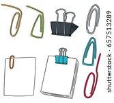 vector set of paper clip | Shutterstock .eps vector #657513289