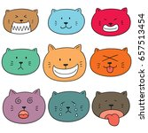vector set of cat face | Shutterstock .eps vector #657513454