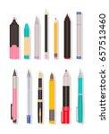 vector set of different pens ... | Shutterstock .eps vector #657513460