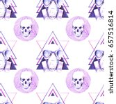 skull watercolor illustration   Shutterstock . vector #657516814