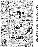 travel transportation doodle | Shutterstock .eps vector #657527080