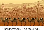 silhouettes of camels against... | Shutterstock .eps vector #657534733