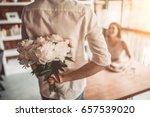 Happy Romantic Couple In Cafe....