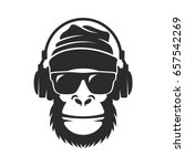 gorilla in a knitted hat ... | Shutterstock .eps vector #657542269