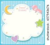 Stock vector sweet dreams cute card design with cloud star moon heart and sleeping bear for template frame 657543676