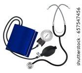 tonometer and phonendoscope.... | Shutterstock .eps vector #657547456