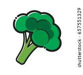 broccoli vegetable flat color... | Shutterstock .eps vector #657551329