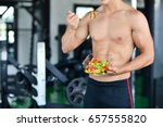 powerful athletic man with... | Shutterstock . vector #657555820