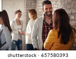 casual discussion between...   Shutterstock . vector #657580393