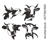 cow head cattle silhouette milk ... | Shutterstock .eps vector #657581983