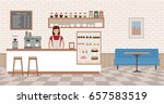 Stock vector coffee shop interior young woman standing behind bar counter flat design vector illustration 657583519