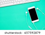 top view of mobile phone with... | Shutterstock . vector #657592879