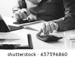 businessman hand working with... | Shutterstock . vector #657596860
