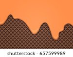flowing caramel cream over... | Shutterstock .eps vector #657599989