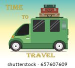 retro travel van with suitcases ... | Shutterstock .eps vector #657607609
