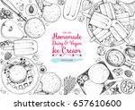 ice cream top view frame.... | Shutterstock .eps vector #657610600