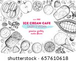 ice cream top view frame.... | Shutterstock .eps vector #657610618