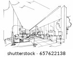 sketch perspective interior.... | Shutterstock .eps vector #657622138