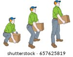 man lifting heavy box | Shutterstock .eps vector #657625819