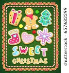 sweet christmas cookies set.... | Shutterstock .eps vector #657632299