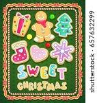 sweet christmas cookies set.... | Shutterstock .eps vector #657632299