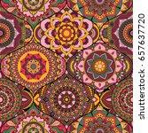 patchwork pattern. vintage... | Shutterstock .eps vector #657637720