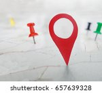 red locator symbol on a map... | Shutterstock . vector #657639328