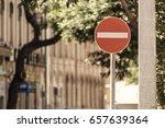 no entry sign road traffic...   Shutterstock . vector #657639364