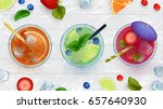 top view of summer dinks  fruit ... | Shutterstock .eps vector #657640930