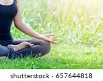 young people do yoga outdoor in ... | Shutterstock . vector #657644818
