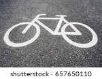 bicycle pictogram on concrete... | Shutterstock . vector #657650110