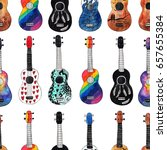 seamless pattern with ukulele.... | Shutterstock . vector #657655384