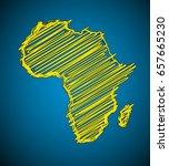 sketch african continent flat... | Shutterstock . vector #657665230