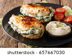 baked chicken fillet stuffed... | Shutterstock . vector #657667030