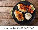 baked chicken breast stuffed...   Shutterstock . vector #657667066