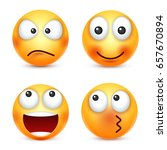 smiley emoticons set. yellow... | Shutterstock .eps vector #657670894