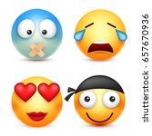 smiley emoticons set. yellow... | Shutterstock .eps vector #657670936