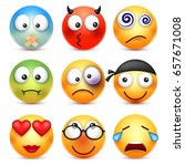 smiley emoticons set. yellow... | Shutterstock .eps vector #657671008
