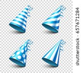 party shiny hat with ribbon.... | Shutterstock .eps vector #657671284