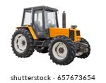 Yellow Tractor Isolated On...