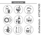 set of vector flat icons. food... | Shutterstock .eps vector #657687430