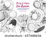 ice cream top view frame.... | Shutterstock .eps vector #657688636