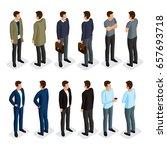 isometric men set. 3d man in... | Shutterstock .eps vector #657693718