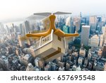 drone with a delivery box... | Shutterstock . vector #657695548