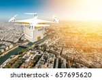 drone flying with a delivery...   Shutterstock . vector #657695620