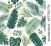 tropical leaves and flowers of... | Shutterstock .eps vector #657701770