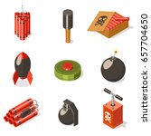 set of explosive weapon icons.... | Shutterstock .eps vector #657704650