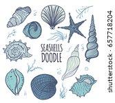 colorful set of seashells on... | Shutterstock .eps vector #657718204