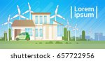 house building with wind...   Shutterstock .eps vector #657722956