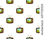 ball on the screen of retro tv... | Shutterstock .eps vector #657725224